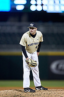 Wake Forest Demon Deacons relief pitcher Jared Shuster (41) looks to his catcher for the sign against the Charlotte 49ers at BB&T BallPark on March 13, 2018 in Charlotte, North Carolina.  The 49ers defeated the Demon Deacons 13-1.  (Brian Westerholt/Four Seam Images)