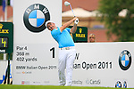 Damien McGrane (IRL) tees off on the 1st tee off during Day 2 of the BMW Italian Open at Royal Park I Roveri, Turin, Italy, 10th June 2011 (Photo Eoin Clarke/Golffile 2011)