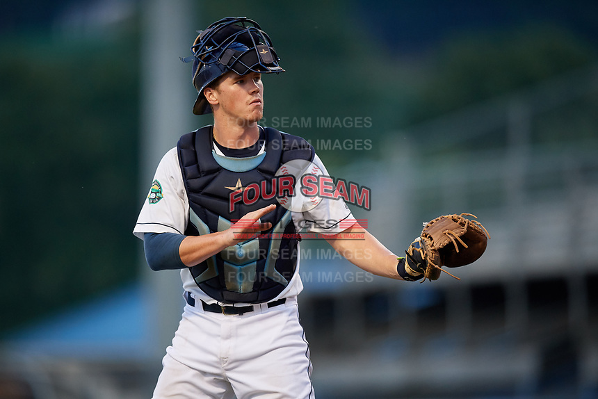 Princeton Rays catcher Jordyn Muffley (2) during the second game of a doubleheader against the Johnson City Cardinals on August 17, 2018 at Hunnicutt Field in Princeton, Virginia.  Princeton defeated Johnson City 12-1.  (Mike Janes/Four Seam Images)