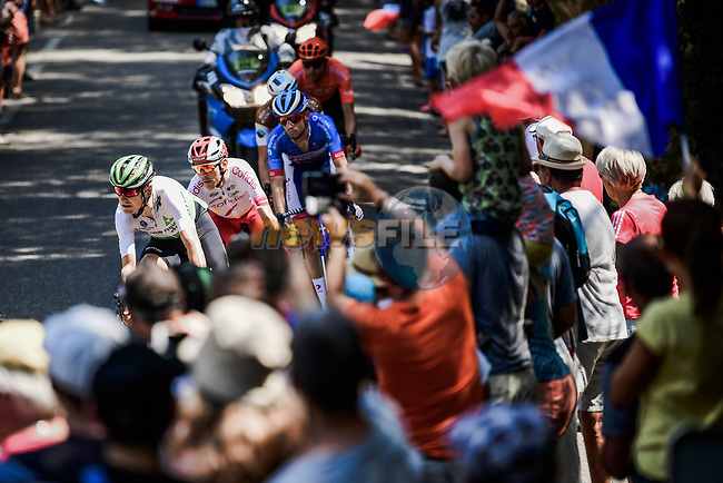 Fans cheer on the breakaway featuring Lukasz Wisniowski (POL) CCC Team, Lars Ytting Bak (DEN) Dimension Data, Stephane Rossetto (FRA) Cofidis, Paul Ourselin (FRA) Total Direct Energie and Alexis Gougeard (FRA) AG2R La Mondiale during Stage 16 of the 2019 Tour de France running 177km from Nimes to Nimes, France. 23rd July 2019.<br /> Picture: ASO/Pauline Ballet | Cyclefile<br /> All photos usage must carry mandatory copyright credit (© Cyclefile | ASO/Pauline Ballet)