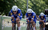 Yves Lampaert (BEL/Quick Step Floors) leading his team into the final KM.<br /> <br /> Stage 3 (Team Time Trial): Cholet > Cholet (35km)<br /> <br /> 105th Tour de France 2018<br /> ©kramon