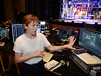 NWA Democrat-Gazette/ANDY SHUPE<br /> Lucy MacKinnon, production designer for Blue Man Group, speaks Tuesday, Aug. 27, 2019, during a press tour of the company's new show at the Walton Arts Center in Fayetteville.