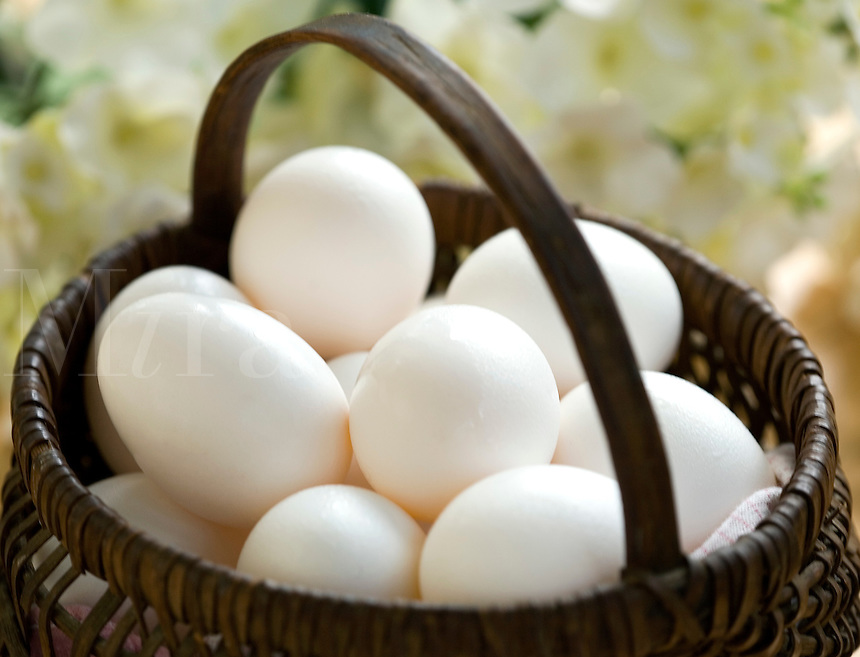 White Eggs in brown Basket