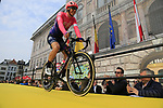Sep Vanmarcke (BEL) EF Education First at the team presentation in Antwerp before the start of the 2019 Ronde Van Vlaanderen 270km from Antwerp to Oudenaarde, Belgium. 7th April 2019.<br /> Picture: Eoin Clarke | Cyclefile<br /> <br /> All photos usage must carry mandatory copyright credit (&copy; Cyclefile | Eoin Clarke)