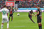 17.03.2019, BayArena, Leverkusen, GER, DFL, 1. BL, Bayer 04 Leverkusen vs SV Werder Bremen, DFL regulations prohibit any use of photographs as image sequences and/or quasi-video<br /> <br /> im Bild Leon Bailey (#9, Bayer 04 Leverkusen) macht das Tor zum 1:2<br /> <br /> Foto © nph/Mauelshagen