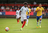 Ainsley Maitland-Niles (Arsenal) of England in action during the International match between England U20 and Brazil U20 at the Aggborough Stadium, Kidderminster, England on 4 September 2016. Photo by Andy Rowland / PRiME Media Images.