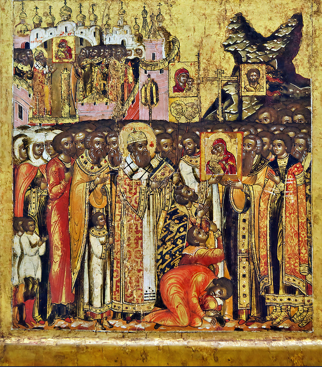 Meeting of the miraculous icon of Our Lady of Vladimir on Kuchkovo Field near Moscow in 1395.