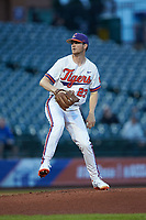 Clemson Tigers starting pitcher Charlie Barnes (23) in action against the Duke Blue Devils in Game Three of the 2017 ACC Baseball Championship at Louisville Slugger Field on May 23, 2017 in Louisville, Kentucky. The Blue Devils defeated the Tigers 6-3. (Brian Westerholt/Four Seam Images)