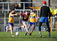 26th January 2020; TEG Cusack Park, Mullingar, Westmeath, Ireland; Allianz Football Division 2 Gaelic Football, Westmeath versus Clare; Westmeath forward Luke Loughlin is fouled running through on goal