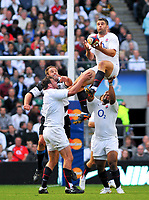 Nick Easter rises high in the air to claim a high ball at the restart. MasterCard Trophy International match between England and the Barbarians on May 30, 2010 at Twickenham Stadium in London, England. [Mandatory Credit: Patrick Khachfe/Onside Images]