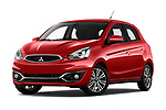 Stock pictures of low aggressive front three quarter view of 2019 Mitsubishi Spacestar Invite 5 Door Hatchback Low Aggressive