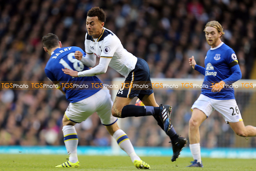 Dele Alli of Tottenham Hotspur is stopped by Gareth Barry of Everton during Tottenham Hotspur vs Everton, Premier League Football at White Hart Lane on 5th March 2017