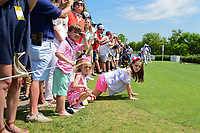 Young fans lean past the ropes for a glimpse of Dustin Johnson's (USA) drive on 17 during round 6 of the World Golf Championships, Dell Technologies Match Play, Austin Country Club, Austin, Texas, USA. 3/26/2017.<br /> Picture: Golffile | Ken Murray<br /> <br /> <br /> All photo usage must carry mandatory copyright credit (&copy; Golffile | Ken Murray)