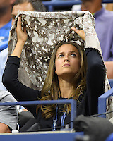 FLUSHING NY- SEPTEMBER 05: Kim Sears covers up during a rain delay as Andy Murray Vs Grigor on Arthur Ashe Stadium at the USTA Billie Jean King National Tennis Center on September 5, 2016 in Flushing Queens. Credit: mpi04/MediaPunch