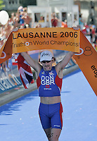 03 SEP 2006 - LAUSANNE, SWITZERLAND - Tim Don (GBR) celebrates winning the Elite Mens 2006 World Triathlon Championships. (PHOTO (C) NIGEL FARROW)