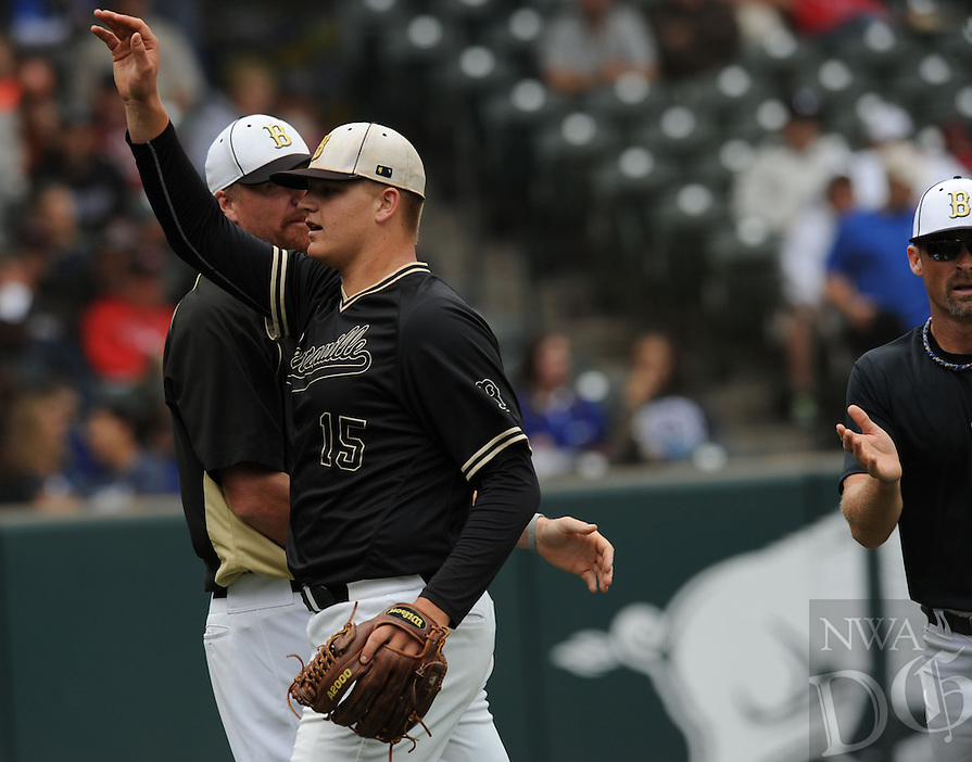 NWA Democrat-Gazette/ANDY SHUPE<br /> Bentonville and Conway Friday, May 22, 2015, during the Class 7A state championship game at Baum Stadium in Fayetteville. Visit nwadg.com/photos to see more photographs from the game.