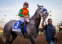 ARCADIA, CA - DECEMBER 26: Unique Bella # 3 with Mike Smith up after winning the La Brea Stakes at Santa Anita Park on December 26, 2017 in Arcadia, California. (Photo by Alex Evers/Eclipse Sportswire/Getty Images)