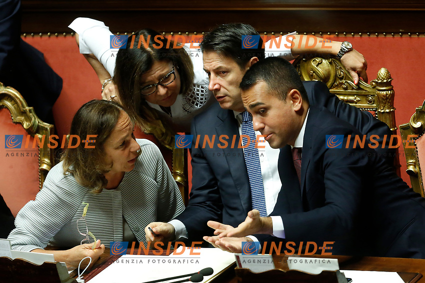 Luciana Lamorgese, Paola De Micheli, Giuseppe Conte and Luigi Di Maio<br /> Rome September 10th 2019. Senate. Discussion and Trust vote at the new Government. <br /> Foto  Samantha Zucchi Insidefoto