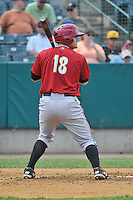 Justin Howard (18) of the Altoona Curve bats during a game against the New Britain Rock Cats at New Britain Stadium on June 25, 2014 in New Britain, Connecticut.  New Britain defeated Altoona 3-1.  (Gregory Vasil/Four Seam Images)