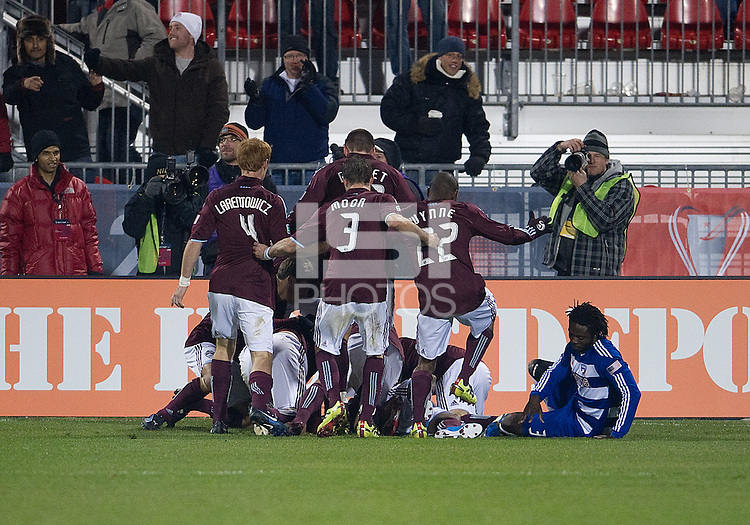 21 November 2010: The Colorado Rapid players celebrate the winning goal in extra time by Colorado Rapids midfielder/forward Macoumba Kandji #10 during the 2010 MLS CUP between the Colorado Rapids and FC Dallas at BMO Field in Toronto, Ontario Canada..The Colorado Rapids won 2-1 in extra time....