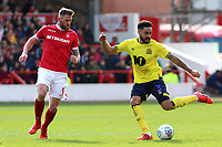 Blackburn Rovers' Derrick Williams tries to find a way past Nottingham Forest's Daryl Murphy<br /> <br /> Photographer David Shipman/CameraSport<br /> <br /> The EFL Sky Bet Championship - Nottingham Forest v Blackburn Rovers - Saturday 13th April 2019 - The City Ground - Nottingham<br /> <br /> World Copyright © 2019 CameraSport. All rights reserved. 43 Linden Ave. Countesthorpe. Leicester. England. LE8 5PG - Tel: +44 (0) 116 277 4147 - admin@camerasport.com - www.camerasport.com