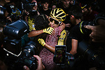 Egan Bernal (COL) Team Ineos wins the overall general classification Yellow Jersey hugs his mother at the end of Stage 21 of the 2019 Tour de France running 128km from Rambouillet to Paris Champs-Elysees, France. 28th July 2019.<br /> Picture: ASO/Pauline Ballet | Cyclefile<br /> All photos usage must carry mandatory copyright credit (© Cyclefile | ASO/Pauline Ballet)