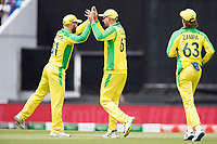 David Warner (Australia) congratulates substitute Nathan Lyon following his catch to dismiss Shikhar Dhawan (India) during India vs Australia, ICC World Cup Cricket at The Oval on 9th June 2019