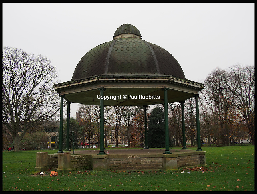 BNPS.co.uk (01202 558833)<br /> Pic: PaulRabbitts/BNPS<br /> <br /> ***Please Use Full Byline***<br /> <br /> The bandstand at Ryelands Park, Lancaster was built in 1911 and still stands today. <br /> <br /> <br /> A landscape gardener is trumpeting the great British creation of the bandstand after touring the country's parks to study the iconic structures for a new book.<br /> <br /> Paul Rabbitts' work is a celebration of the Victorian platforms and a throwback to the halycon days of outdoor music when thousands of people would gather in public parks for a brass band performance.
