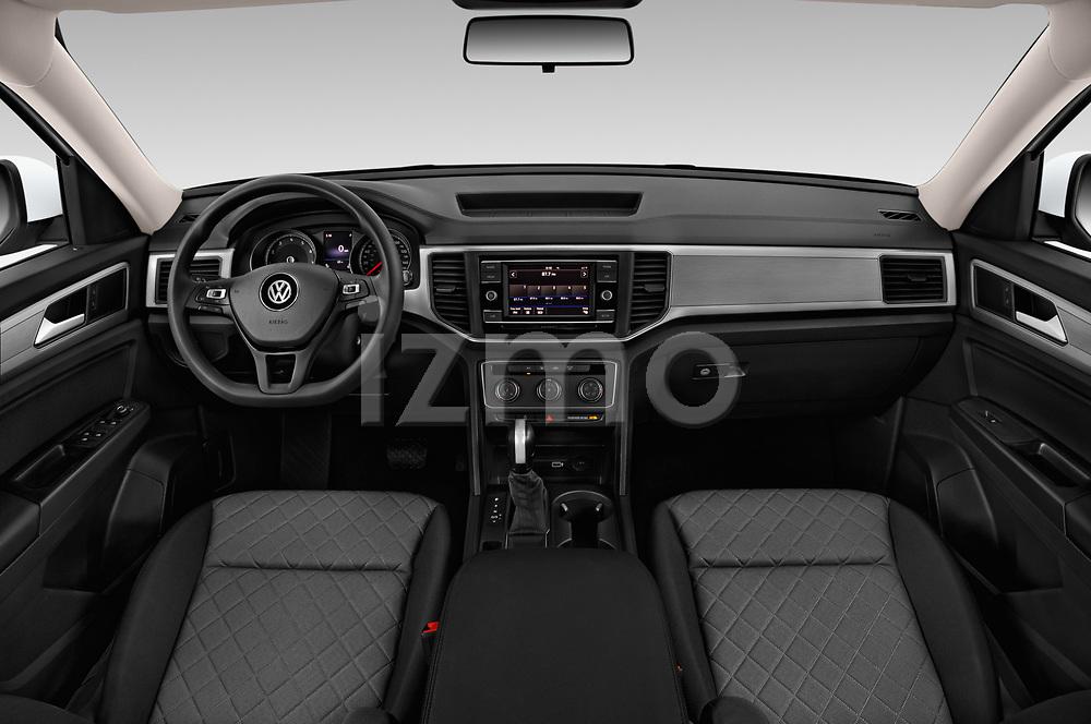 Stock photo of straight dashboard view of a 2018 Volkswagen Atlas S 5 Door SUV