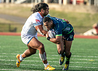 WASHINGTON, DC - FEBRUARY 16: Shalom Suniula #13 of the Seattle Seawolves pushes off on Thretton Palamo #13 of Old Glory DC during a game between Seattle Seawolves and Old Glory DC at Cardinal Stadium on February 16, 2020 in Washington, DC.