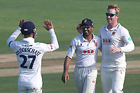 Simon Harmer of Essex is congratulated by his team mates after taking the wicket of Ian Westwood during Essex CCC vs Warwickshire CCC, Specsavers County Championship Division 1 Cricket at The Cloudfm County Ground on 20th June 2017