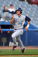 Brooklyn Cyclones third baseman David Thompson (29) scores a run during the first game of a doubleheader against the Connecticut Tigers on September 2, 2015 at Senator Thomas J. Dodd Memorial Stadium in Norwich, Connecticut.  Brooklyn defeated Connecticut 7-1.  (Mike Janes/Four Seam Images)