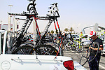 The Katusha Team Canyoni bikes in the team pick up truck before the start of 2nd Stage of the 2012 Tour of Qatar a team tme trial at Lusail Circuit, Doha, Qatar, 6th February 2012 (Photo Eoin Clarke/Newsfile)