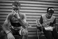 Mihkel Raim (EST/Cycling Academy), the only finisher of his team (12th!), returns to find his Cycling Academy teammates all cleaned up &amp; waiting for him<br /> <br />  91th Schaal Sels 2016