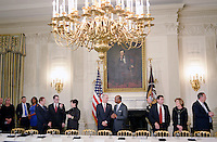 Manufacturing CEOs , including in the middle Juan Luciano (L) Chairman/President/CEO at Archer-Daniels-Midland Co, and Kenneth Frazier Chairman and CEO of  Merck attend a  listening session with President Trump in the State Dining Room  of the White House on February 23, 2017 in Washington, DC. Photo Credit: Olivier Douliery/CNP/AdMedia
