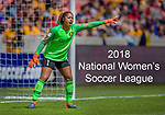 Utah Royals FC goalkeeper Abby Smith (1) in the first half Saturday, April 14, 2018, during the National Woman Soccer League game at Rio Tiinto Stadium in Sandy, Utah. (© 2018 Douglas C. Pizac)