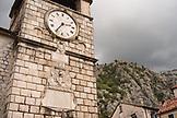 MONTENEGRO, Bay of Kotor, Clock Tower and Town Walls above Old Town Kotor, Ben M Thomas