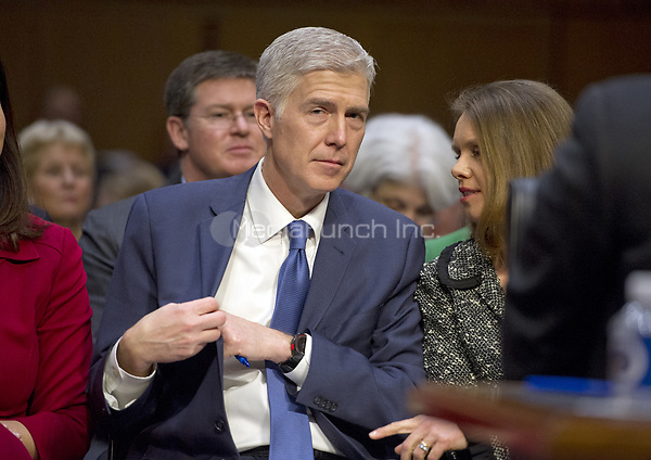 Judge Neil Gorsuch and his wife, Marie Louise, as he prepares to testify before the United States Senate Judiciary Committee on his nomination as Associate Justice of the US Supreme Court to replace the late Justice Antonin Scalia on Capitol Hill in Washington, DC on Monday, March 20, 2017.<br />