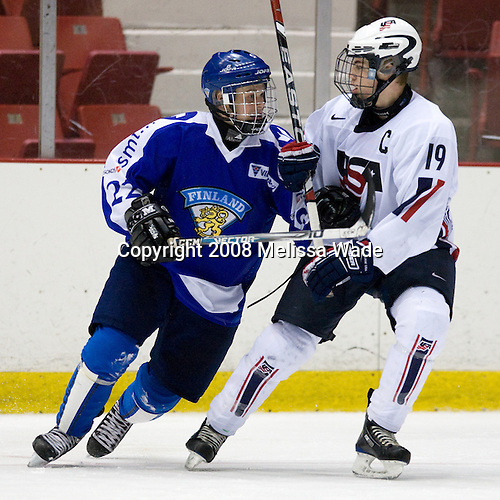 Valtteri Virkkunen (Finland - 22), William Wrenn (US - 19) - Team USA defeated Team Finland 3-2 to win the Four Nations Cup (Under-18 boys) on Saturday, November 9, 2008 in the 1980 Rink in Lake Placid, New York.