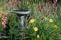 Fountain in garden<br /> Victoria Beach<br /> Manitoba<br /> Canada