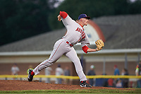 Auburn Doubledays relief pitcher Gabe Klobosits (31) delivers a pitch during a game against the Batavia Muckdogs on July 4, 2017 at Dwyer Stadium in Batavia, New York.  Batavia defeated Auburn 3-2.  (Mike Janes/Four Seam Images)