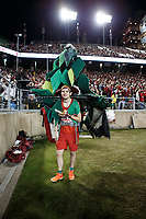 Stanford, CA - November 18, 2017: Stanford Tree mascot takes a break during the Stanford vs California football game Saturday night at Stanford Stadium.<br /> <br /> The Stanford Cardinal defeated the California Golden Bears 17 to 14.