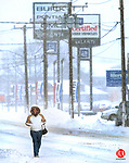WATERBURY, CT. 02 March 2009-030209SV04--In near whiteout conditions, Susan Birdsall of Waterbury walked over a mile to and from an appointment that was canceled due to the snow storm blanketing the area on Watertown Ave. in Waterbury Monday.<br /> Steven Valenti Republican-American