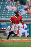 Rochester Red Wings shortstop Nick Gordon (1) follows through on a swing during a game against the Indianapolis Indians on July 24, 2018 at Victory Field in Indianapolis, Indiana.  Rochester defeated Indianapolis 2-0.  (Mike Janes/Four Seam Images)