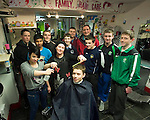 The Killarney Celtic U-16 team were treated to a free haircut at Julie Healy Hairdressers Hight St, Killarney this week as they prepared for their FAI National Cup clash away to Liffey Celtic this Saturday. Pictured is Hairdresser Julie Healy  and assistant JoJo Wade working on Celtic captain Shane Cronin. Also included are Jiauel Hoque, James O'Donoghue, Matt Keane, Brendan Lyne, Jordan Kiely, Micheal Burns, Darren O'Doherty, Donal Lyne, and Manager Donal O'Doherty.  Picture: Eamonn Keogh (MacMonagle, Killarney)