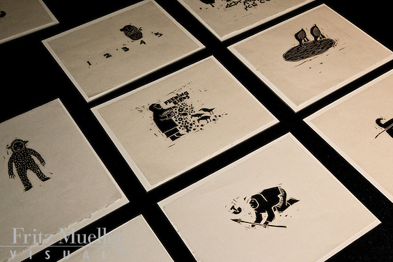 Prints on display by Nunavut painter and printmaker Gyu Oh