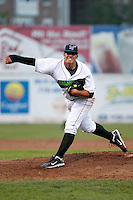 Jamestown Jammers pitcher Jose Fernandez #37, the Marlins first round draft choice, delivers a pitch during the second inning of a game against the Mahoning Valley Scrappers at Russell E. Diethrick Jr Park on September 2, 2011 in Jamestown, New York.  Mahoning Valley defeated Jamestown 8-4.  (Mike Janes/Four Seam Images)
