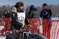 Musher # 62 Dallas Seavey at the Restart of the 2009 Iditarod in Willow Alaska