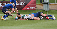 Joe Munro of Ealing Trailfinders scores a try during the British & Irish Cup Final match between Ealing Trailfinders and Leinster Rugby at Castle Bar, West Ealing, England  on 12 May 2018. Photo by David Horn / PRiME Media Images.