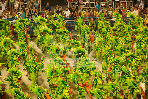 Imperatriz Leopolinense Samba School, Carnival, Rio de Janeiro, Brazil, 26th February 2017. The 'Paradise' dance group, in the green of the forest, each carrying a monkey.
